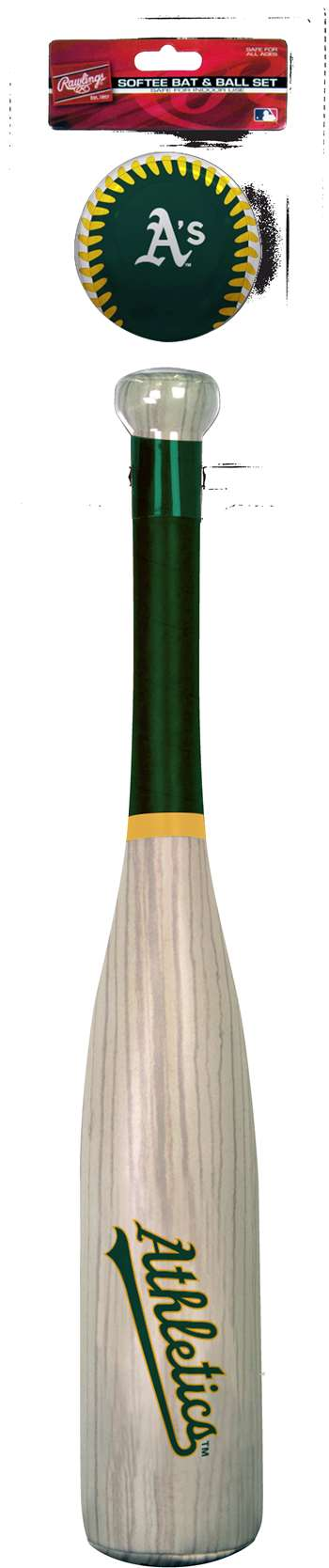 MLB Oakland Athletics Grand Slam Softee Baseball Bat and Ball Set (Wood Grain)