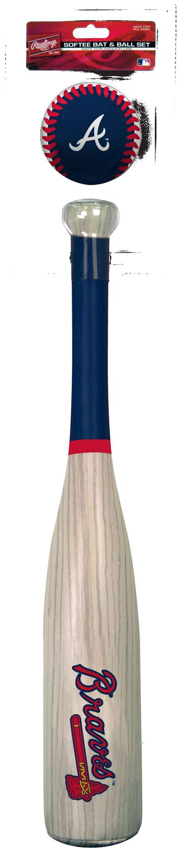 MLB Atlanta Braves Grand Slam Softee Bat and Ball Set (Wood Grain)