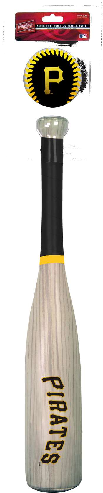 MLB Pittsburgh Pirates Grand Slam Softee Baseball Bat and Ball Set (Wood Grain)