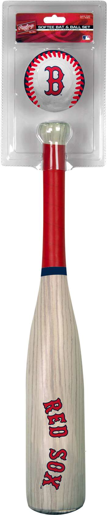 MLB Boston Red Sox Grand Slam Softee Baseball Bat and Ball Set (Wood Grain)