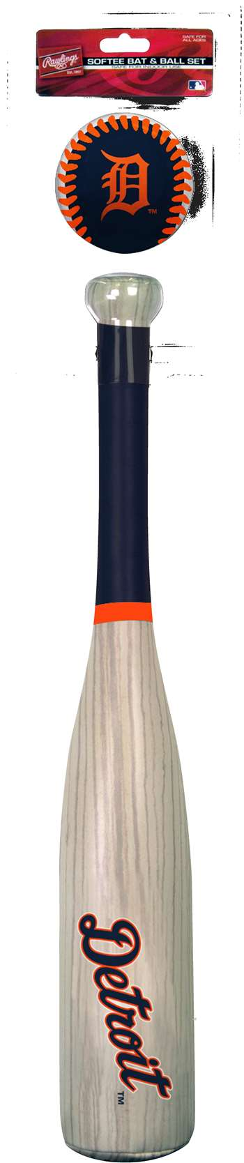 MLB Detroit Tigers Grand Slam Softee Bat and Ball Set (Wood Grain)