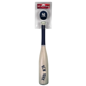 MLB New York Yankees Grand Slam Softee Bat and Ball Set (Wood Grain)