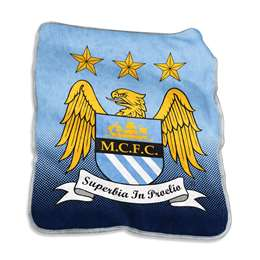 Manchester City Soccer Raschel Throw Fleece Blanket