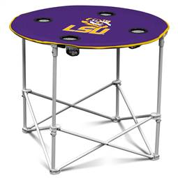 LSU Louisiana State University Tigers Round Folding Table with Carry Bag