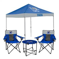 University of Memphis Tigers Tailgate Bundle - Set Includes 9X9 Canopy, 2 Chairs and 1 Side Table