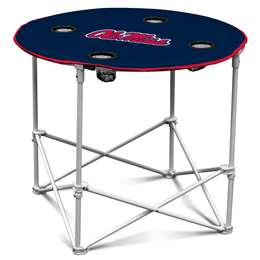 Ole Miss Rebels University of Mississippi Round Folding Table with Carry Bag