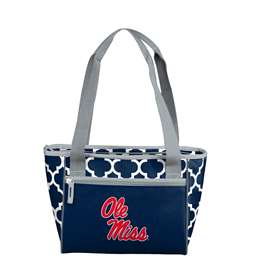 Ole Miss University of Mississippi Quatrefoil 16 Can Cooler Tote