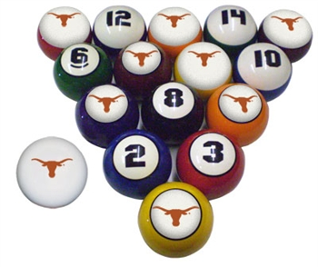 Texas NCAA Collegiate Billiard Pool Ball Sets