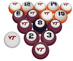 Virginia Tech NCAA Collegiate Billiard Pool Ball Sets