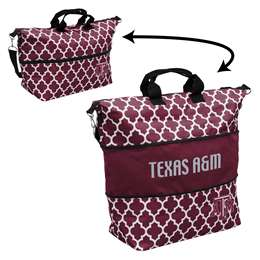 Texas A&M Quatrefoil Expandable Tote