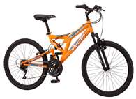 "Pacific Boys Derby Full Suspension Bicycle with 24"" Wheels, Orange"