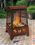 Haywood Fire Pit with Accessories - Tree Leaves - Goergia Clay