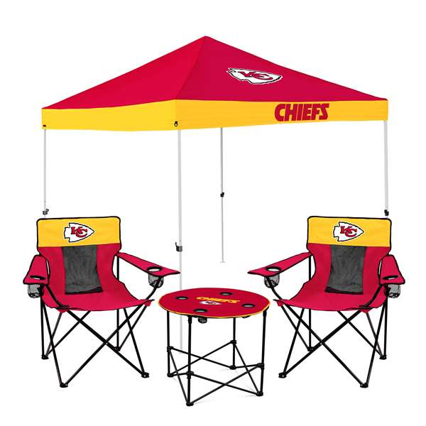 Kansas City Chiefs   Tailgate Bundle - Set Includes 9X9 Canopy, 2 Chairs and 1 Side Table