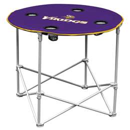 Minnesota Vikings Round Folding Table with Carry Bag