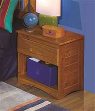 American Furniture Classics Solid Pine, Nightstand with One Drawer and Open Storage in Honey
