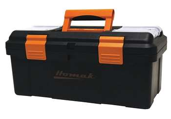 Homak 16-Inch Plastic Tool Box with Tray and Dividers, Black