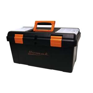 Homak 22-Inch Plastic Tool Box with Tray and Dividers, Black