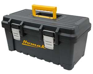 Homak Plastic Tool Box with Metal Latches, 16-Inch, Black