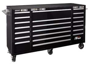 Homak H2PRO Series 72-Inch 21-Drawer Rolling Cabinet, Black