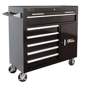 Homak H2PRO Series 41-Inch 6-Drawer with 2-Drawer Compartment Roller, Black