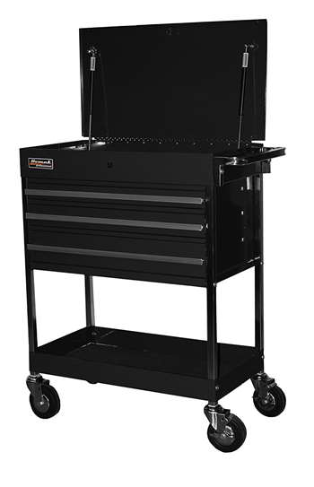 Homak 34-Inch Professional 3 Drawer Service Cart, Black