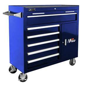 Homak H2PRO Series 41-Inch 6-Drawer with 2-Drawer Compartment Roller, Blue