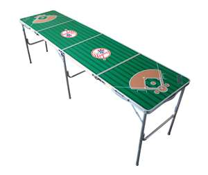 New York Yankees MLB Folding Tailgate Table 2X8 Ft Picnic Card Table