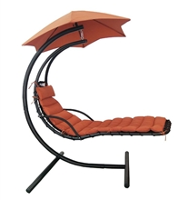Island Retreat Hanging Chaise Lounge w/ Shade Canopy in Burgundy Sunbrella