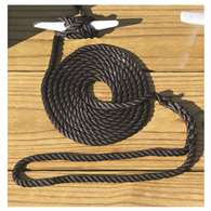 Boater Sports BLACK 3/8 X 10 ft.  3-Strand Twisted Docklines - Nylon Rope