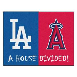 "MLB - Dodgers - Angels House Divided Rug 33.75""x42.5""  House Divided Mat"