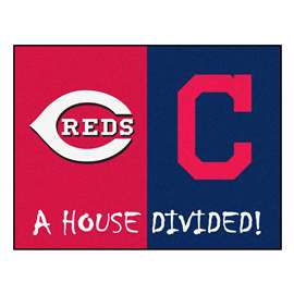 "MLB - Reds - Indians House Divided Rug 33.75""x42.5""  House Divided Mat"