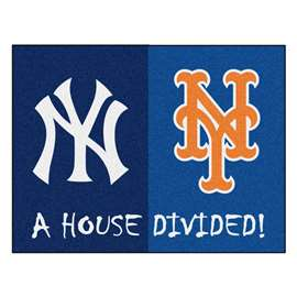 "MLB - Yankees - Mets House Divided Rug 33.75""x42.5""  House Divided Mat"