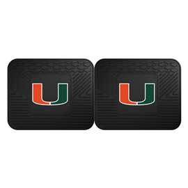 University of Miami  2 Utility Mats Rug Carpet Mat