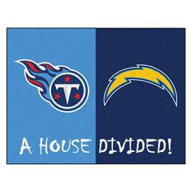NFL House Divided - Chargers / TitansFloor Rug Mats