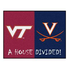 House Divided: Virginia Tech / Virginia  House Divided Mat Rug, Carpet, Mats