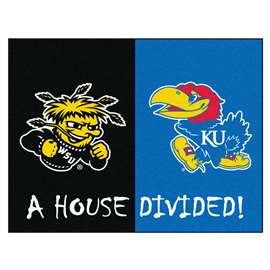 House Divided: Wichita State / Kansas  House Divided Mat Rug, Carpet, Mats