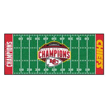 "Kansas City Chiefs Super Bowl LIV 54 Champions Football Field Runner 30""x72"""