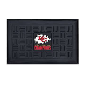 "Kansas City Chiefs Super Bowl LIV 54 Champions Medallion Door Mat 19.5""x31.25"""