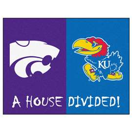 House Divided: Kansas / Kansas State  House Divided Mat Rug, Carpet, Mats