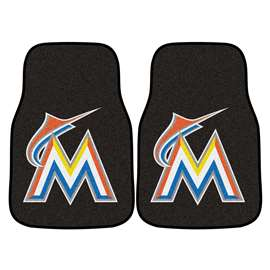 "MLB - Miami Marlins 2-pc Carpeted Car Mats 17""x27""  2-pc Carpet Car Mat Set"