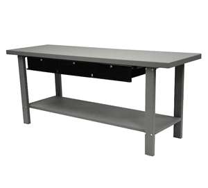 Homak H2PRO Series 79-Inch Industrial Steel Workbench with 3-Drawers, Gray