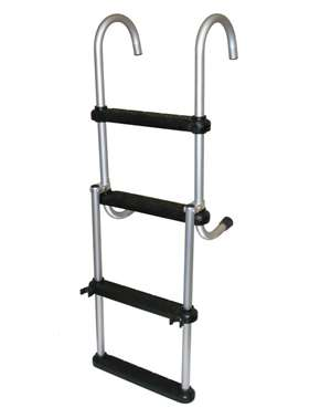 JIF Marine 4-Step Removable Folding Ladder Anodized Aluminum Boat - Dock Ladder