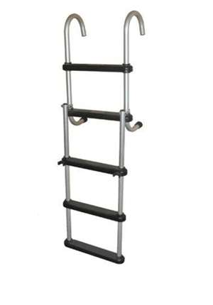 JIF Marine 5-Step Removable Folding Ladder Anodized Aluminum Boat - Dock Ladder