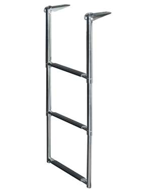 JIF Marine 3-Step Stainless 316 Telescoping Drop Ladder Over Platform Boat - Dock Ladder
