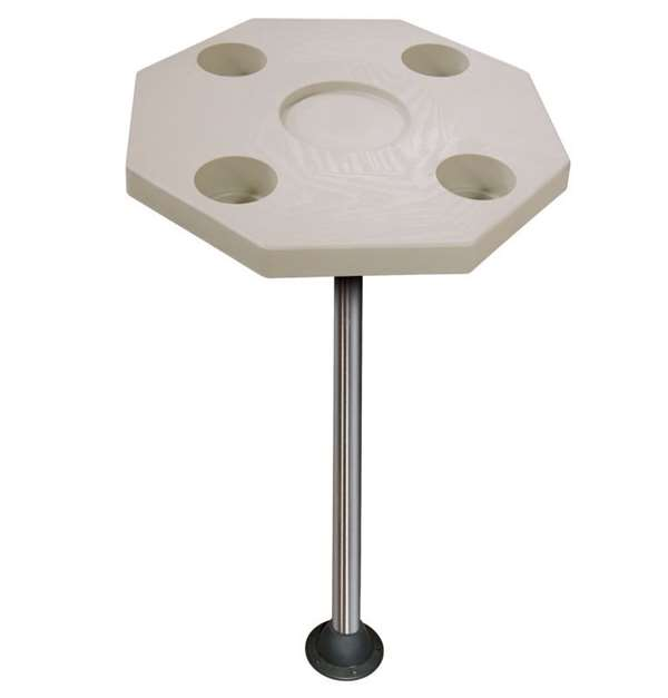 JIF Marine Octagonal Ivory Table Kit w/Surface Mount Boat - Dock Table