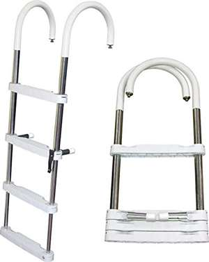 JIF Marine 4-Step Telescoping Ponton Ladder Stainless 317 Boat - Dock Table