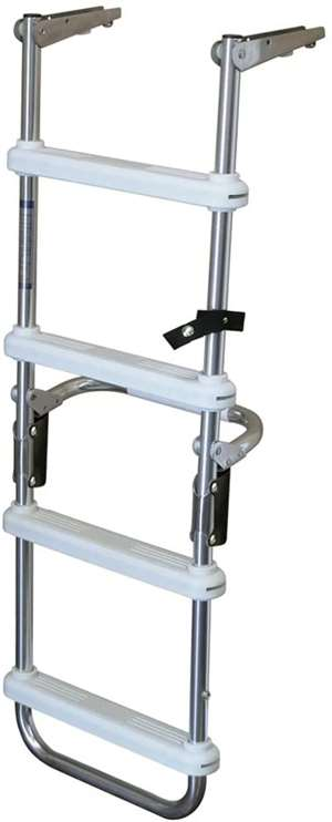 "JIF Marine 4-Step Folding Deck Ladder Anodized Aluminum w/6"" SS Gudgeons Boat - Dock Table"