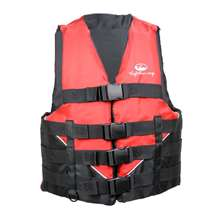 Xtreme Water Sports Men's Deluxe Nylon Life Jacket Vest - Red/Black - Small/Medium