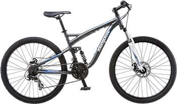 Mongoose Detour Men's 26 inch Full Suspension Mountain Bike, Bicycle Silver/Blue