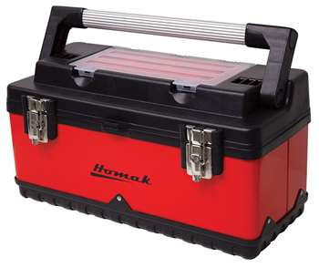 Homak 20-Inch Metal and Plastic Hand-Carry Toolbox with Aluminum Handle, Red